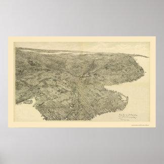 Brooklyn mapa panorámico de NY - 1897 Poster