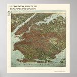 Brooklyn, mapa panorámico de NY - 1908 Poster