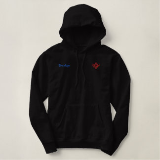 Brooklyn Name With English Meaning Black Embroidered Hoodie
