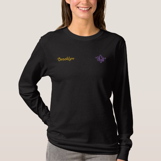 Brooklyn Name With English Meaning Black Embroidered Long Sleeve T-Shirt