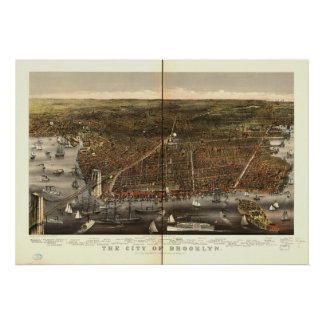 Brooklyn New York 1879 Antique Panoramic Map Poster