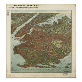 Brooklyn New York 1908 Antique Panoramic Map Poster