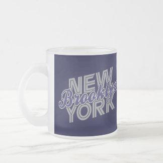 Brooklyn New York - Blue & Grey Frosted Glass Coffee Mug