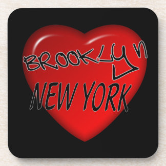 Brooklyn New York Heart Logo Beverage Coaster