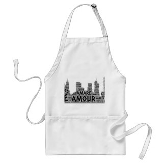 Brooklyn New York illustrated with Love Word Adult Apron