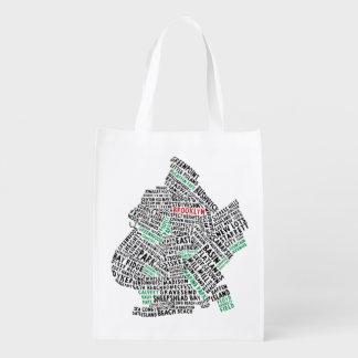 Brooklyn New York Typography Map Reusable Bag Reusable Grocery Bag