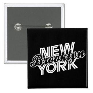 Brooklyn Nueva York - negro y blanco Pins