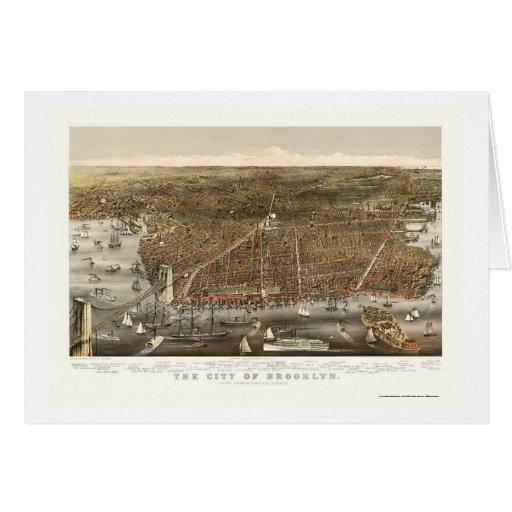 Brooklyn, NY Panoramic Map - 1879 Cards
