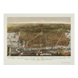 Brooklyn, NY Panoramic Map - 1879 Poster