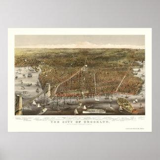 Brooklyn, NY Panoramic Map - 1879 Poster