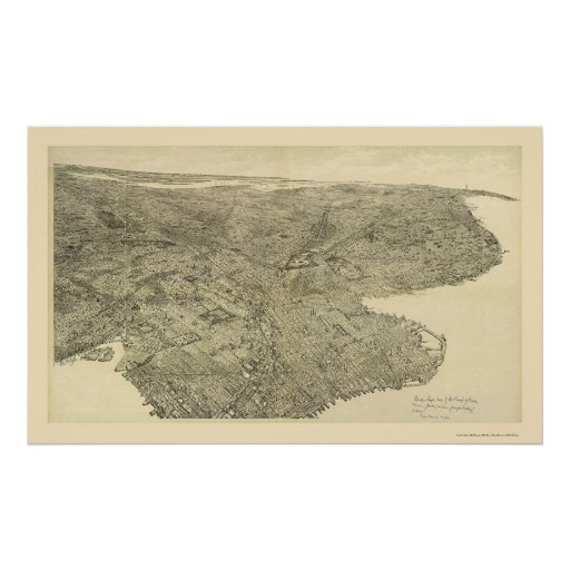 Brooklyn, NY Panoramic Map - 1897 Poster