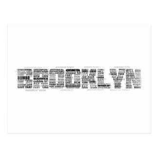 Brooklyn NY Typography Design Postcard