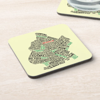 Brooklyn NYC Typography Map Beverage Coaster