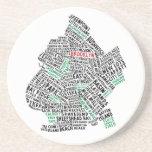 Brooklyn NYC Typography Map Beverage Coasters