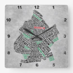 Brooklyn NYC Typography Map Clock