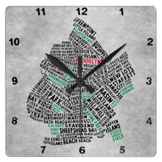 Brooklyn NYC Typography Map Clock