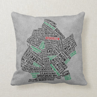 Brooklyn NYC Typography Map Cushion Pillow