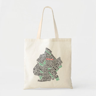 Brooklyn NYC Typography Map Design Tote Bag