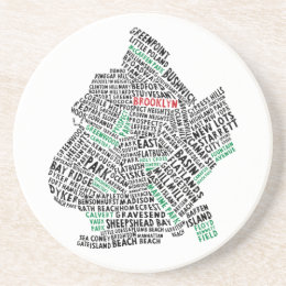 Brooklyn NYC Typography Map Drink Coaster