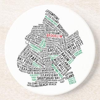 Brooklyn NYC Typography Map Drink Coaster