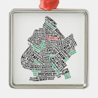Brooklyn NYC Typography Map Metal Ornament