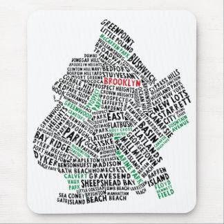 Brooklyn NYC Typography Map Mouse Pad