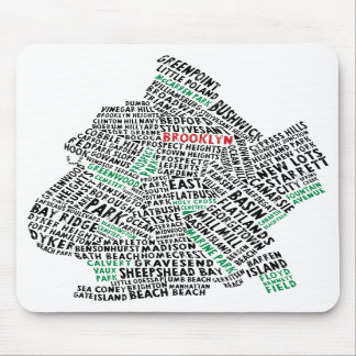 Brooklyn NYC Typography Map Mousepads