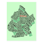 Brooklyn NYC Typography Map Post Card