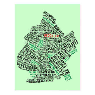 Brooklyn NYC Typography Map Postcard