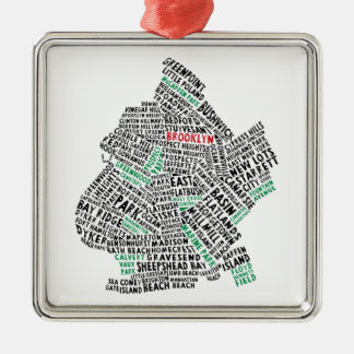 Brooklyn NYC Typography Map Square Metal Christmas Ornament