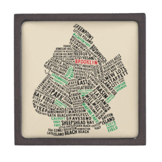 Brooklyn NYC Typography Map Trinket Box