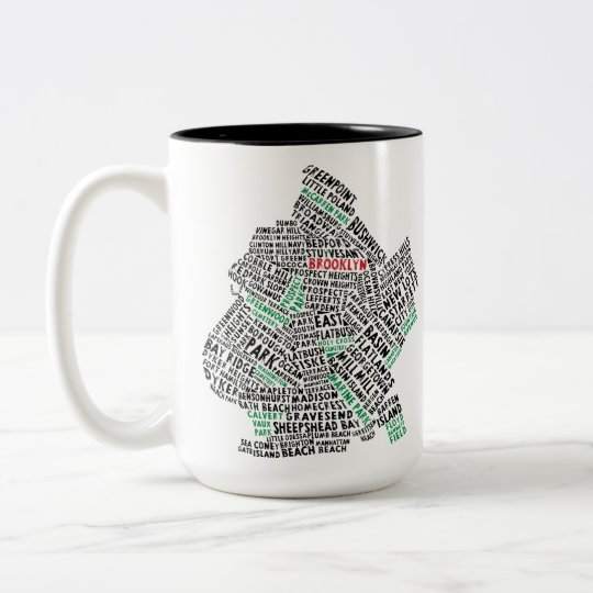Brooklyn NYC Typography Map Two-Tone Coffee Mug