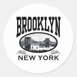 Brooklyn Pegatina Redonda
