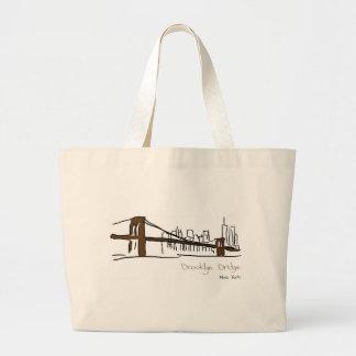 Brooklyn puente Nueva York ilustración a la caract Bolsa De Mano