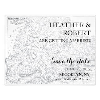 "Brooklyn Save the Date - Vintage Map (gray) 4.25"" X 5.5"" Invitation Card"