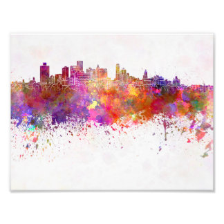 Brooklyn skyline in watercolor background photo print
