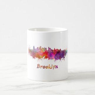 Brooklyn skyline in watercolor coffee mug