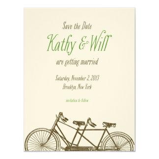 "Brooklyn Tandem Bike Save the Date 4.25"" X 5.5"" Invitation Card"