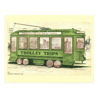 Brooklyn to New York Trolley Trips Vintage Postcard