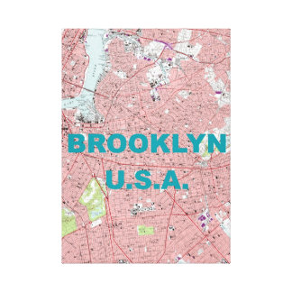 Brooklyn, USA Vintage Map Wrapped Canvas Print