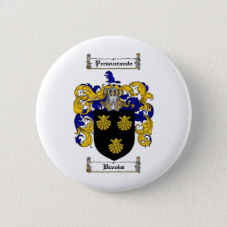 BROOKS FAMILY CREST -  BROOKS COAT OF ARMS PINBACK BUTTON