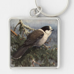 Premium Square Keychain with Brooks' Gray Jay In Pine design