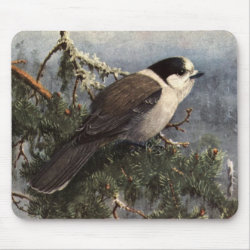 Mousepad with Brooks' Gray Jay In Pine design