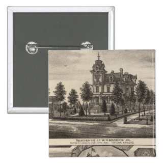 Brooks residence and Grand Opera House, Kansas Pinback Button