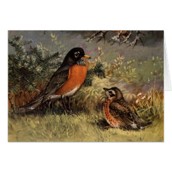 Greeting Card with Brooks' American Robins design