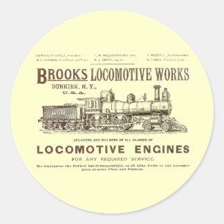 Brooks Steam Locomotive Works 1890 Classic Round Sticker