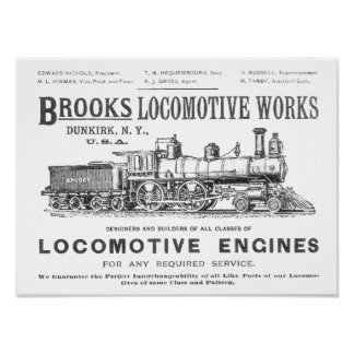 Brooks Steam Locomotive Works 1890 Poster-2 Poster