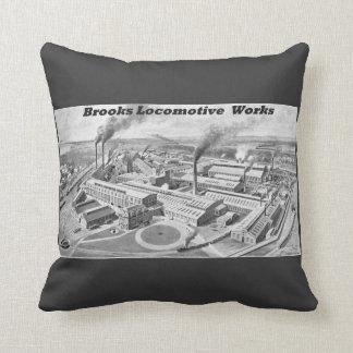 Brooks Steam Locomotive Works Factory 1899 Throw Pillow