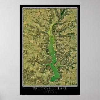 Brookville Lake Indiana Satellite Image Poster