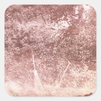 Broom and Spade, 1842 (b/w photo) Square Sticker